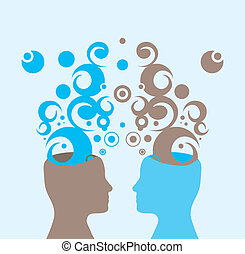 Creativity and cooperation - Vector illustration of two...