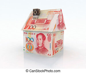 home made of 100 yuan 3d illustration