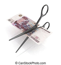 scissors cutting ruble notes on white background, 3d...