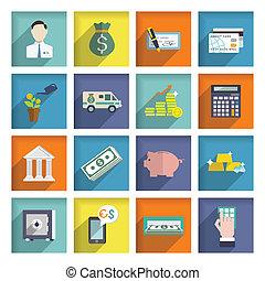 Bank service icons flat set - Bank service flat icons set...
