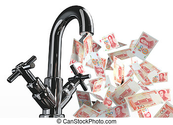 tap water with yuan banknotes 3d illustration