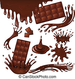 Milk chocolate bar and splashes - Sweets dessert food milk...