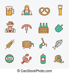 Beer icons set flat line - Beer Oktoberfest icons flat line...