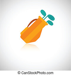Golf clubs icon set - Golf clubs in orange bag icon isolated...