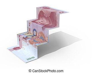 100 yuan banknote folded as steps on white background, 3d...