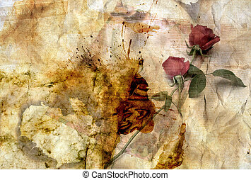 Grunge Valentine Background - Abstract Grunge Paper Texture...