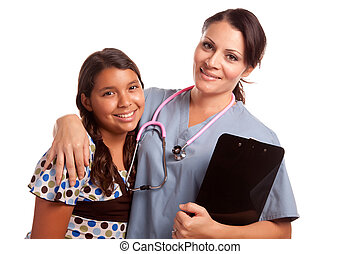 Pretty Hispanic Girl and Female Doctor Isolated on a White...