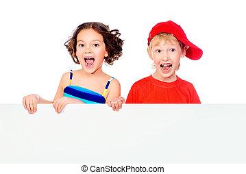 copyspace children - Happy summer children in bright clothes...