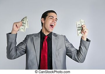 Businessman with dollar notes suit and tie - Businessman...
