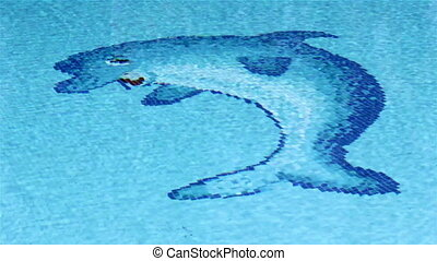 Pool Dolphin Tile Waves A
