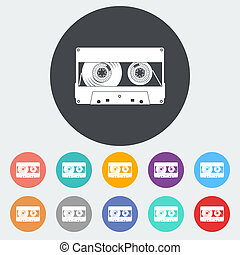 Audiocassette single icon - Audiocassette Single flat icon...