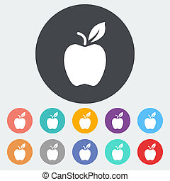 Apple flat icon - Apple. Single flat icon on the circle....