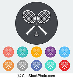 Badminton. Single flat icon on the circle. Vector...