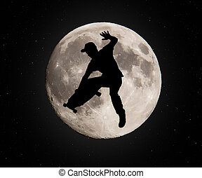 Skateboarder - Skater jumping over the moon