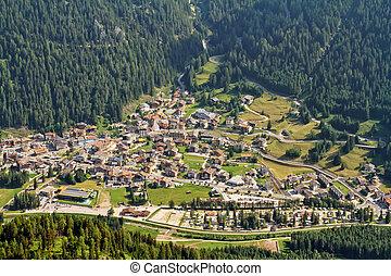 Canazei aerial view - Canazei Village in Fassa valley,...