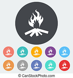 Bonfire Single flat icon on the circle Vector illustration...