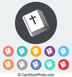 Bible single icon. - Bible. Single flat icon on the circle....