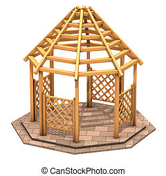 Octagonal wooden gazebo - illustration, Octagonal wooden...