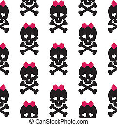 Skull with a bow, seamless pattern Vector background