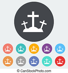Calvary single icon - Calvary Single flat icon on the circle...