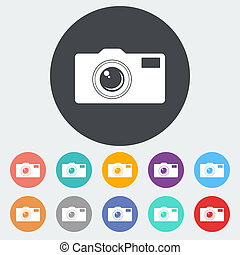 Icon camera - Camera Single flat icon on the circle Vector...