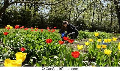 girl care spring flower