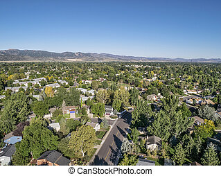 aerial view of residential area in Fort Collins