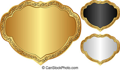 decorative frames - set of decorative frames with golden...