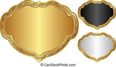 decorative frames - set of decorative frames with golden...