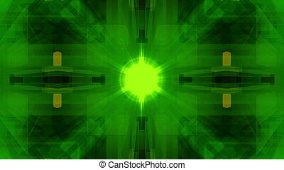 Green Digital Geometric VJ Looping Animated Background