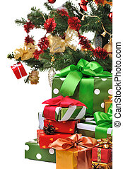 decorated Christmas gifts - heap of colorful presents under...