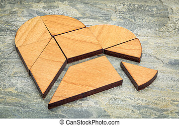 heart tangram puzzle - heart version of tangram, a...