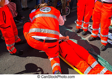 Emergency simulation - MILAN, ITALY - MAY, 18: Emergency...