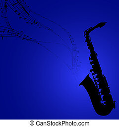 Saxophone with Musical Symbols - Vector Silhouette of...