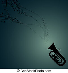 Tuba with Musical Symbols - Vector Silhouette of Tuba with...