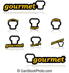 Gourmet icons - Icon set showing a chefs hat combined with...
