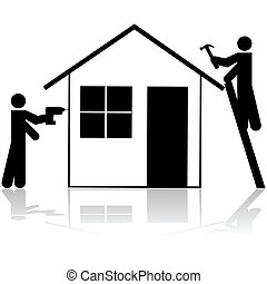 Contractors working on house - Icon showing a couple of...