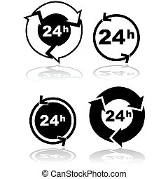 Round the clock - Icon set showing four different...