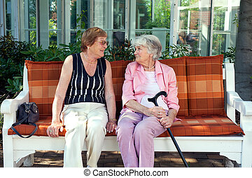 Two senior ladies enjoying a relaxing chat sitting together...