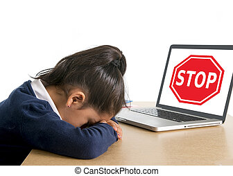 hispanic sweet little school girl crying suffering internet...