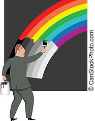 Pessimist - Sad man painting a rainbow into gray scale,...