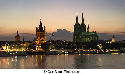 Cologne Skyline at Sunset, Germany Kln