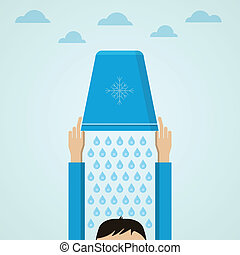 Ice Bucket Challenge Flat vector illustration - A man pours...