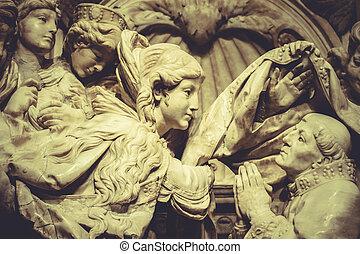 religião, esculturas, gótico, romanticos, anjos