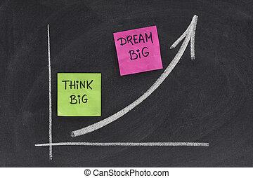 think big, dream big concept on blackboard - think big,...