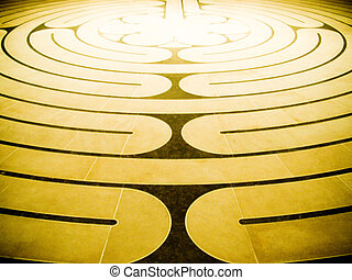 Spiral maze - Brown and golden spiral maze floor pattern