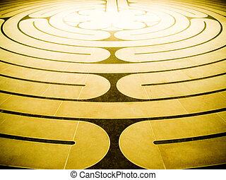 Spiral maze - Brown and golden spiral maze floor pattern