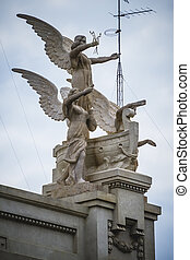 sculptures of angels, tipical architecture of the Spanish city o