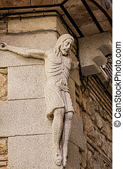carved stone figure of Jesus Christ in the city of Toledo, Spain