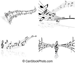 notes themes set - Set of four vector musical notes staff